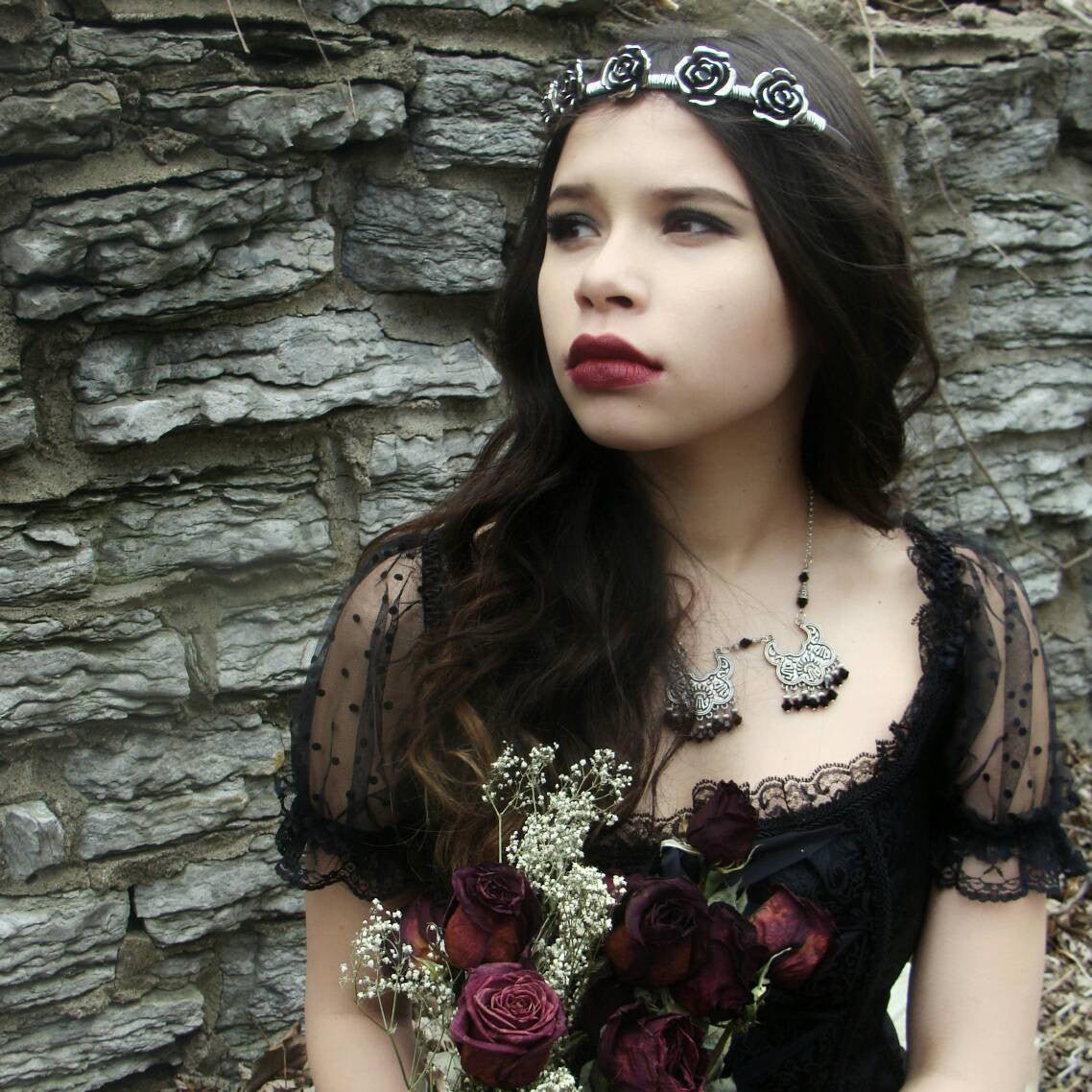 Rose Crown - Flower Crown - Ren Faire - Silver Headband - Bridal Jewelry - Handfasting - Queen Costume - Gothic Crown - Handmade Jewelry - Ren Faire - DRAVYNMOOR