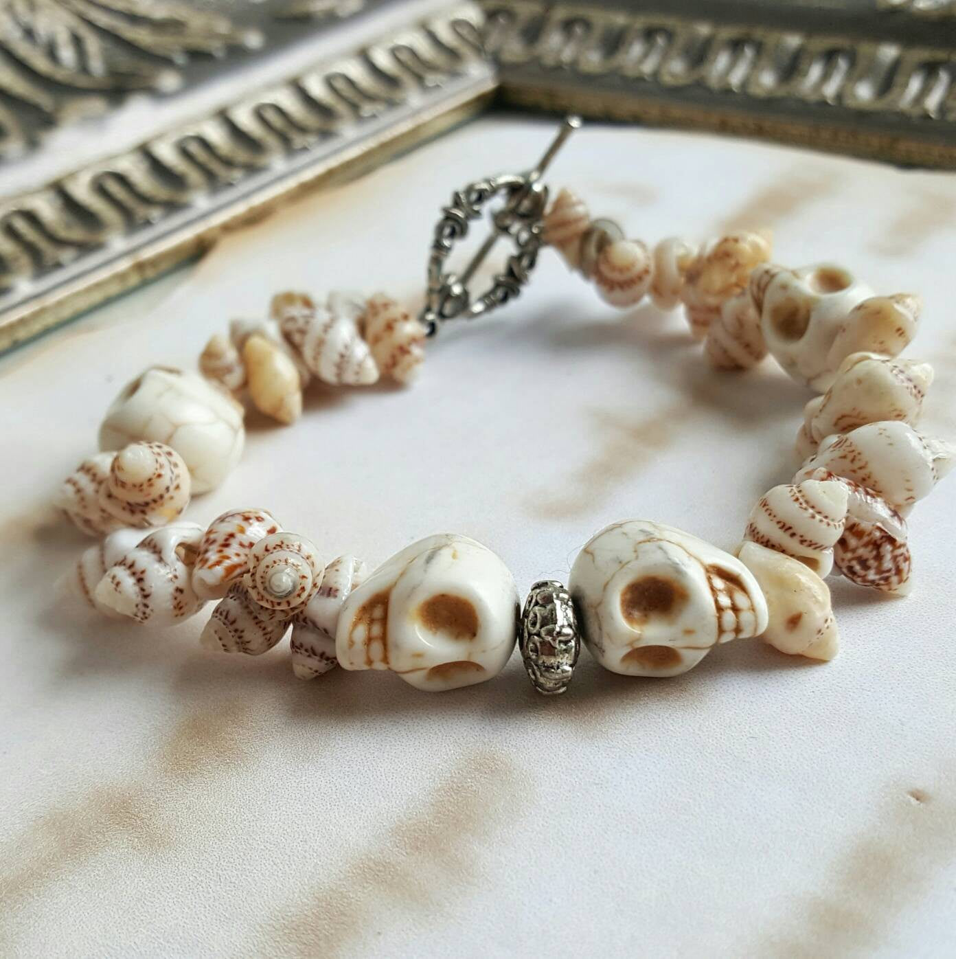 Skull Shell Bracelet Halloween Jewelry Alternative Fashion - DRAVYNMOOR