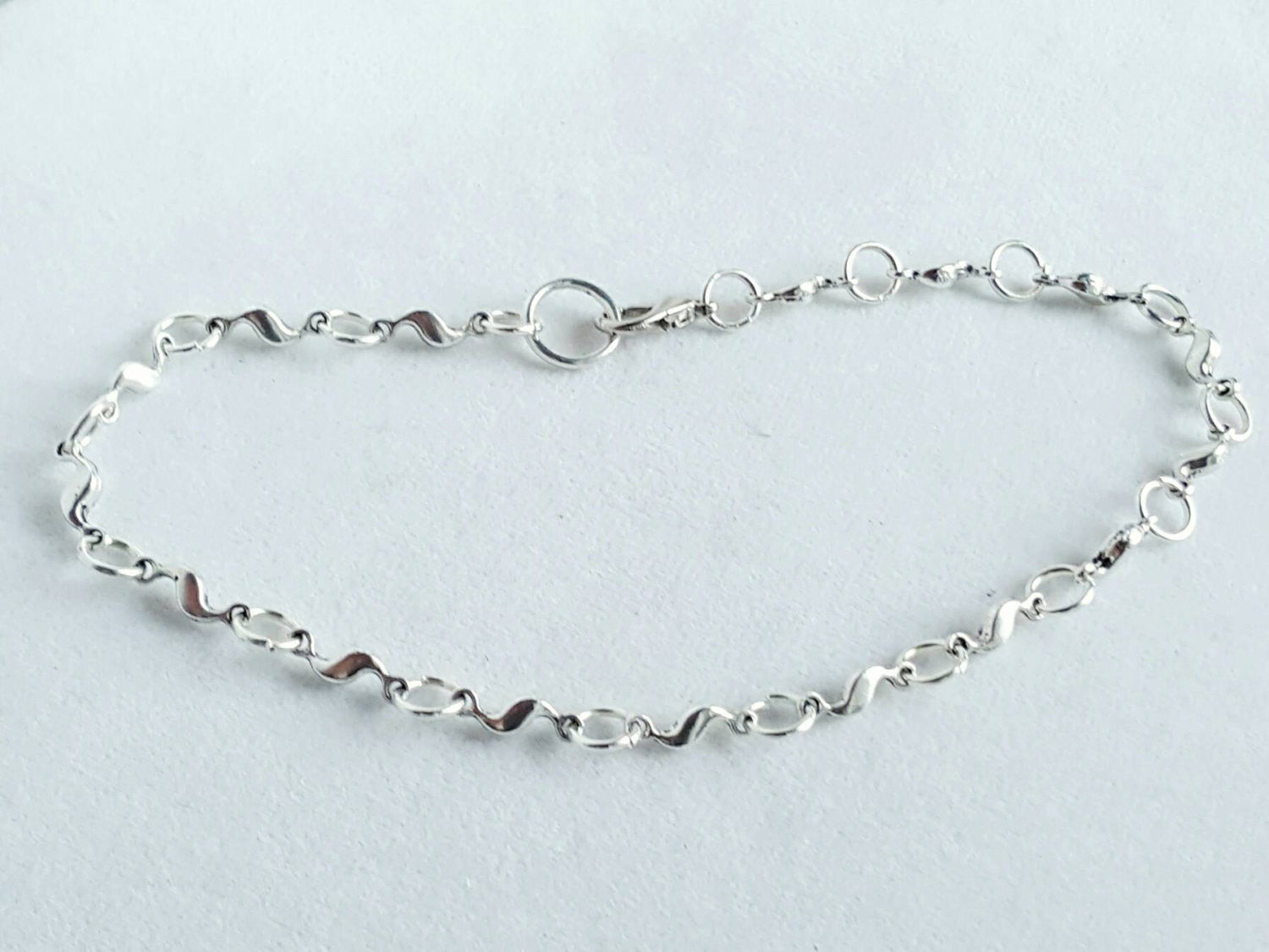 Silver Wave Anklet Summer Wedding Beach Jewelry - DRAVYNMOOR