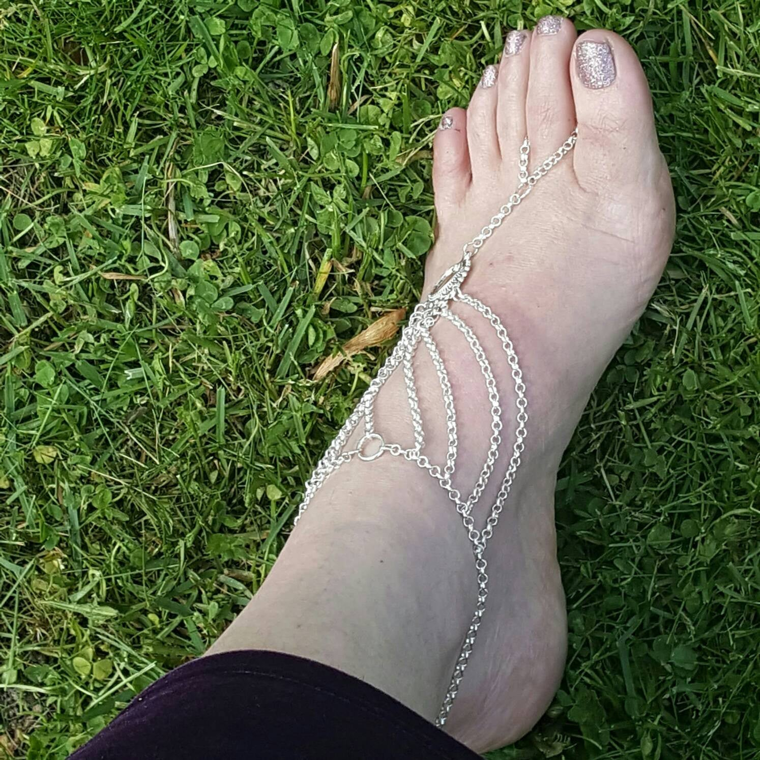 Barefoot Sandals Foot Slave Jewelry Slave Anklet Bohemian Jewelry - DRAVYNMOOR
