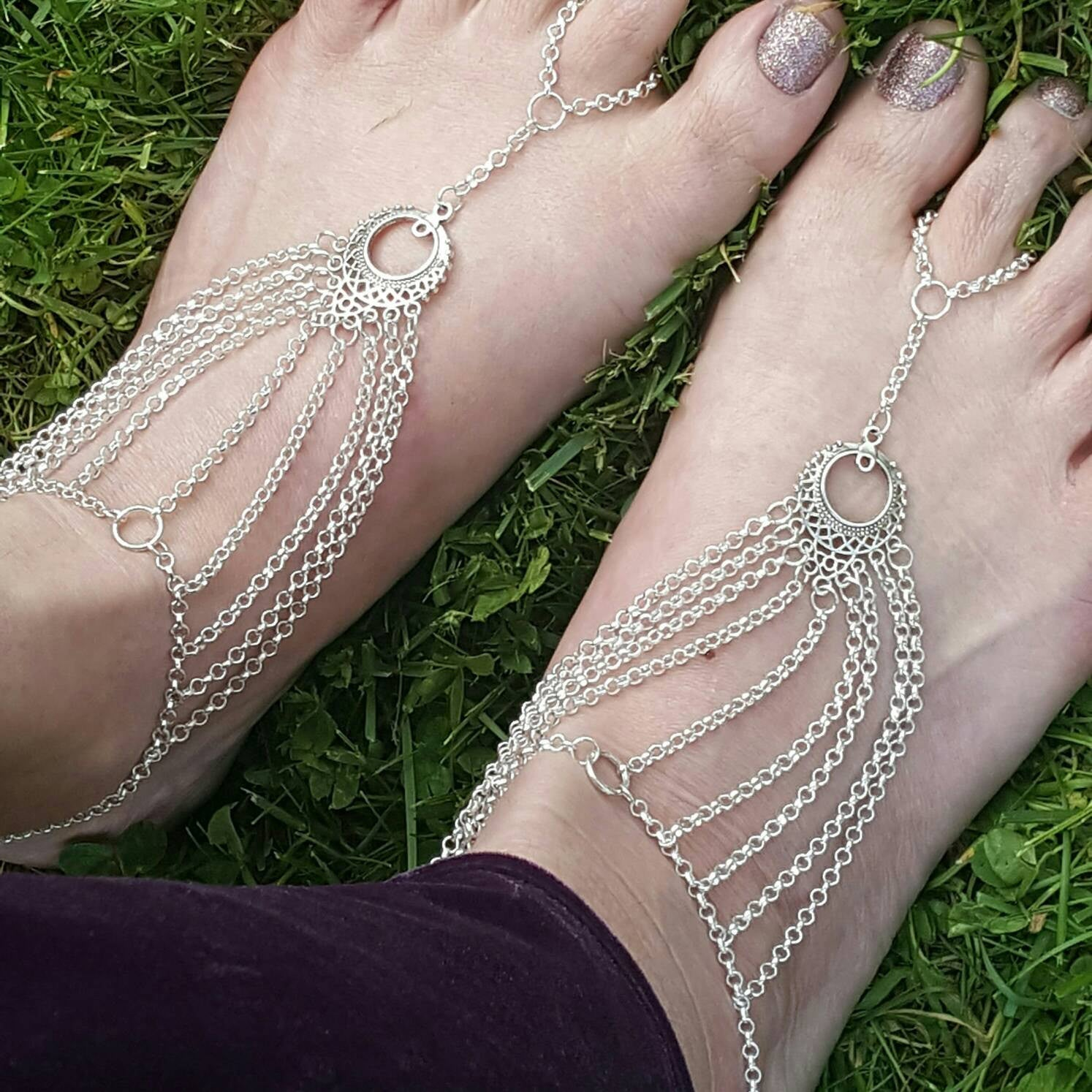 Barefoot Sandals - Foot Jewelry - Tribal Fusion Jewelry - Ren Faire - Slave Jewelry - Slave Anklet - Bohemian Jewelry - Valentines Day Gift - Handmade Jewelry - Ren Faire - DRAVYNMOOR
