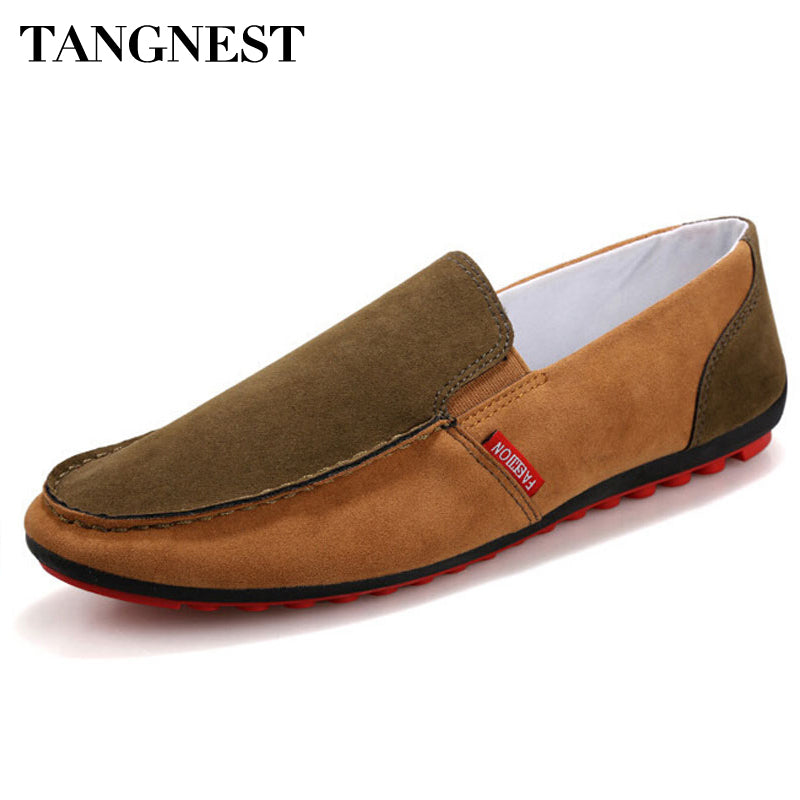 Tangnest Autumn New Men's Loafers 2017 Fashion Mixed Color Men Slip-on Flats Round Toe Comfortable Driving Shoes For Man XMR2093