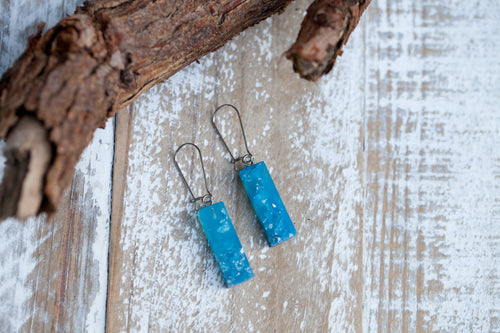 Eco Resin Drop Earrings - Blue & Silver Flakes