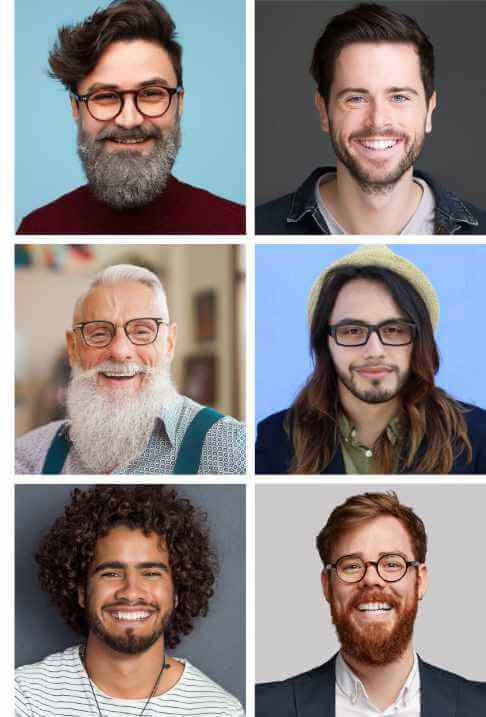 A mosaic style image showing various beard styles that benefit from organic beard balm.
