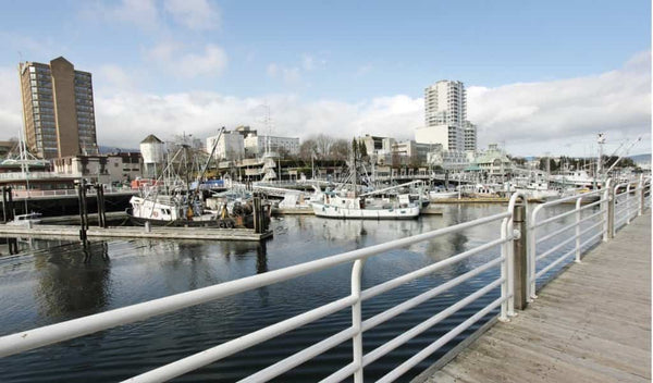 The west coast inner harbour view of the city of Nanaimo BC on Vancouver Island in Canada.