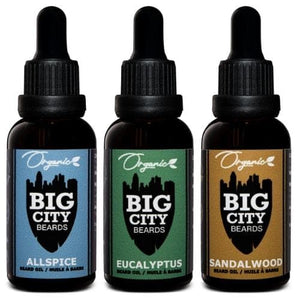 Three 30ml organic beard oil bottle set from Big City Beards