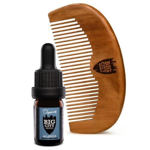 Small allspice scented organic beard oil and a wood comb kit from Big City Beards