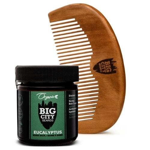 Large eucalyptus scented organic beard balm and wood comb kit from Big City Beards