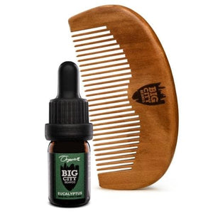 Small eucalyptus scented organic beard oil and a wood comb kit from Big City Beards