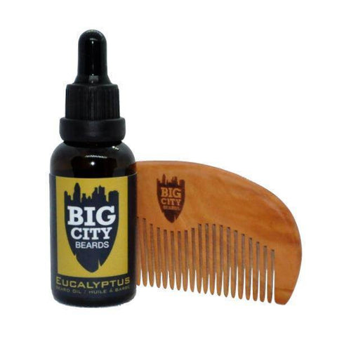 Large Eucalyptus Beard Oil + Wooden Comb Kit | Big City Beards