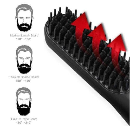 This photo demonstrates, up close, how it's the bristles of the brush that heat up on our beard straightener brush. This photo also show how the 3 different power setting can accommodate all beard lengths and styles.