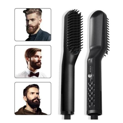 This photo shows 3 bearded men who all have different beard styles to show the diversity of this great beard grooming tool.  It also displays both the front view as well as the back side view of our heated beard straightener brush