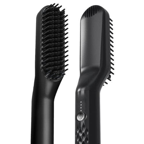 This picture showcases our electric heated beard straightener brush. It shows both the front and the back provides a great look at the quality of the heated bristles as well as the power button and heat settings.