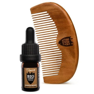 Small sandalwood scented organic beard oil and a wood comb kit from Big City Beards