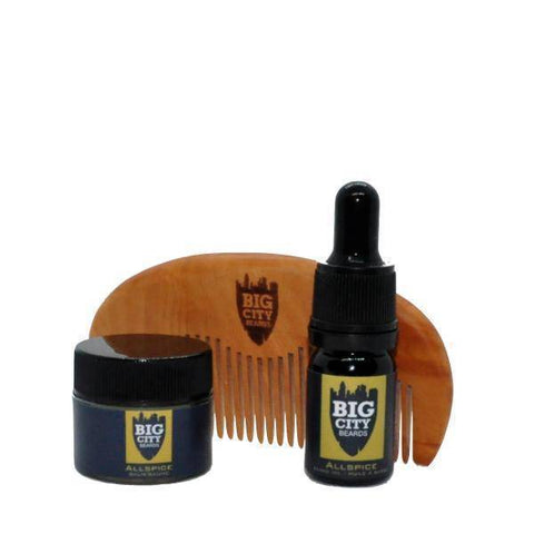 Allspice Beard Oil + Beard Balm + Wooden Styling Comb Bundle | Big City Beards