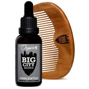 Large unscented organic beard oil and a wood comb kit from Big City Beards