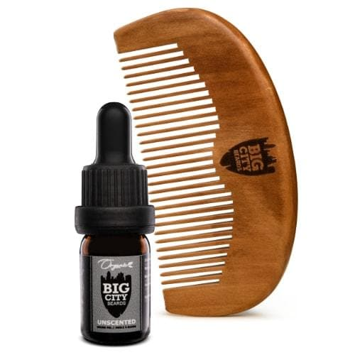 Small unscented organic beard oil and a wood comb kit from Big City Beards