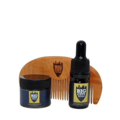 Unscented Beard Oil + Beard Balm + Wooden Styling Comb Bundle | Big City Beards