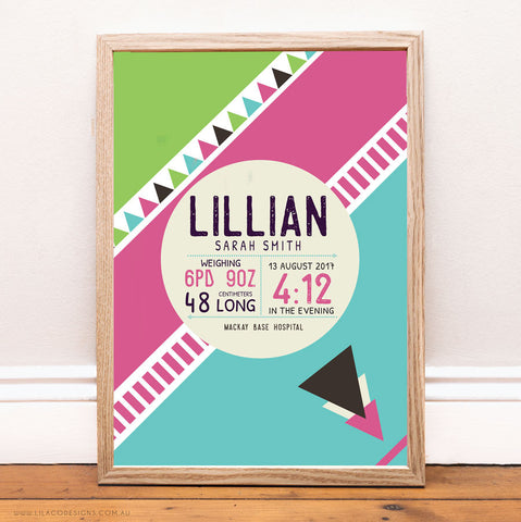 Personalised Girlst Birth Print for the Nursery