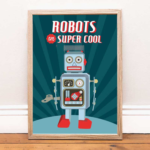 Robots are super cool boys wall print