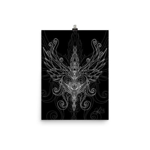 Linear 5 - Winged Heart - Paper Print