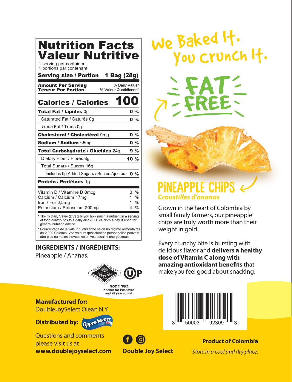 Baked Pineapple Chips  - Fat Free, Gluten Free and Vegan - 1oz - **6 pack**