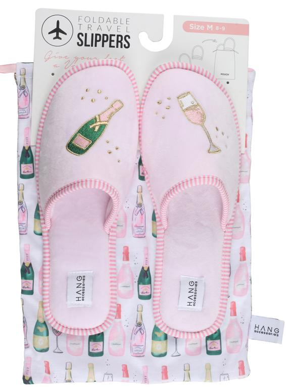 Champagne Foldable Travel Slippers