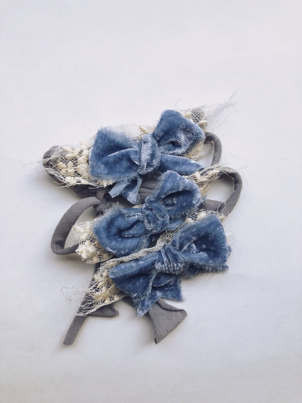 French Blue Plush Velvet Bows