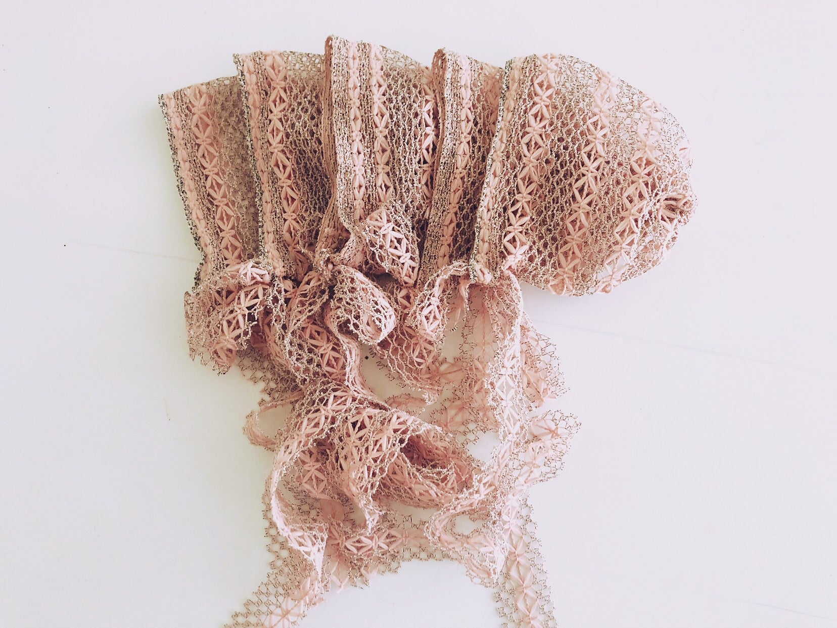 Pink and Gray Lace Bonnet