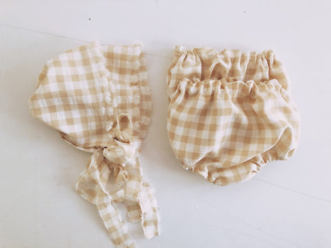 Neutral Gingham Bloomies and Bonnet