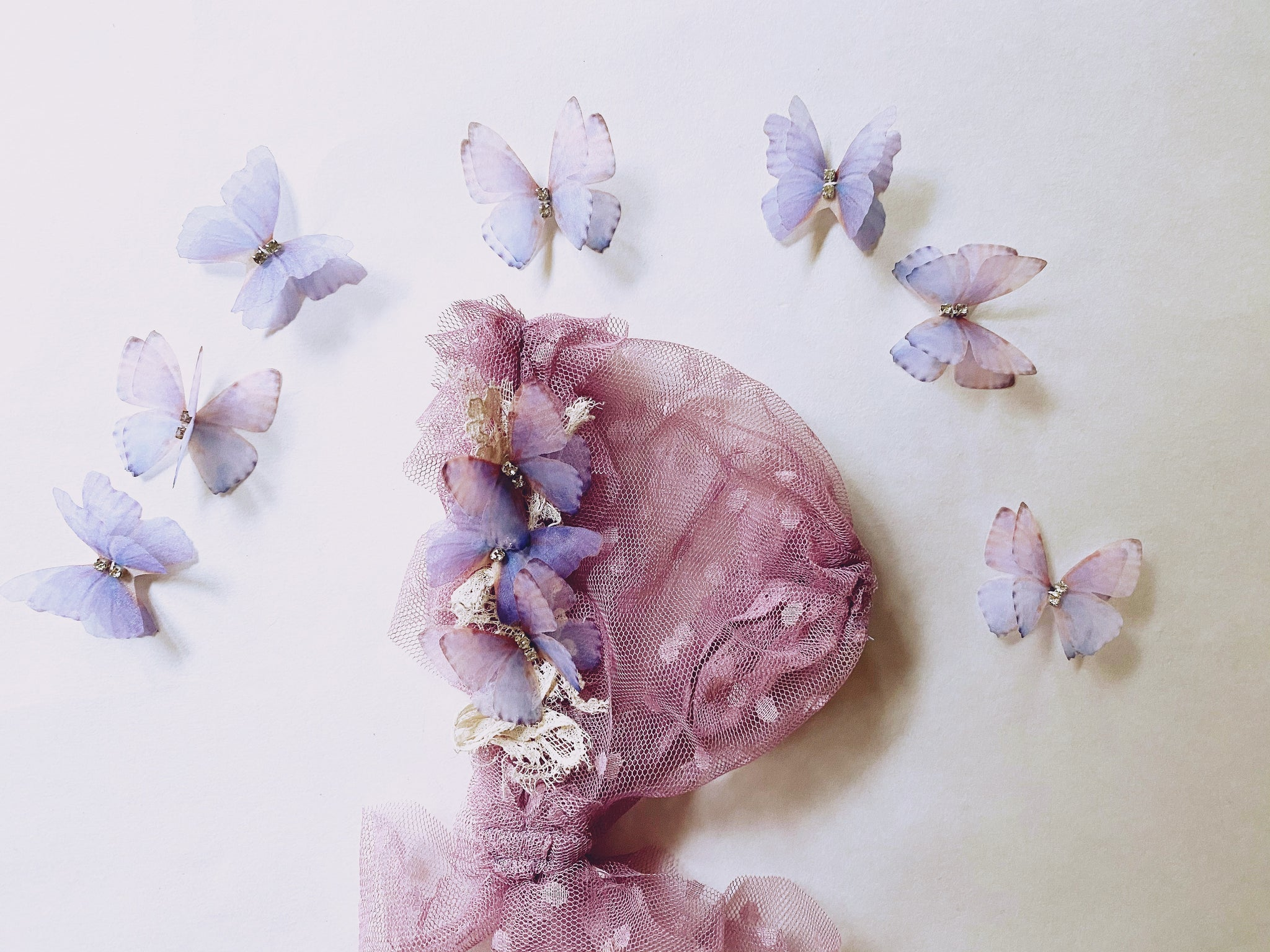Orchid Flutter Bonnet and Butterfly Set