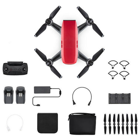 DJI Spark Mini Drone - Fly More Combo With Remote & Accessories - Lava Red