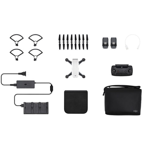 DJI Spark Mini Drone - Fly More Combo With Remote & Accessories - Alpine White