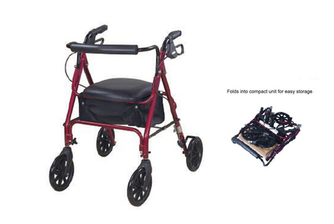 Four Wheel Rollator - burgundy colour (A222-00)