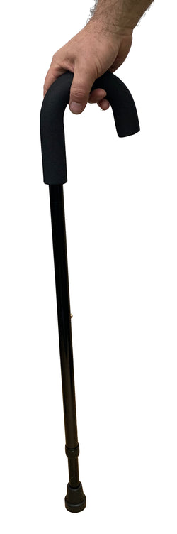 Crook-Handle Aluminium Cane (Black) - Foam Handgrip