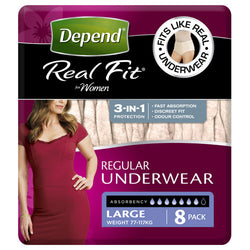 Depend® Real-Fit Underwear for Women  - Large  pack of 8 pcs