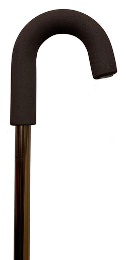 Crook-Handle Bronze Aluminium Cane - Foam Handgrip