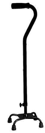 Aluminium Quad Cane (Black) - Small Base