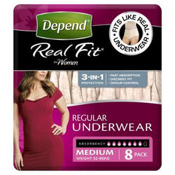 Depend® Real-Fit Underwear for Women - Medium pack of 8 pcs