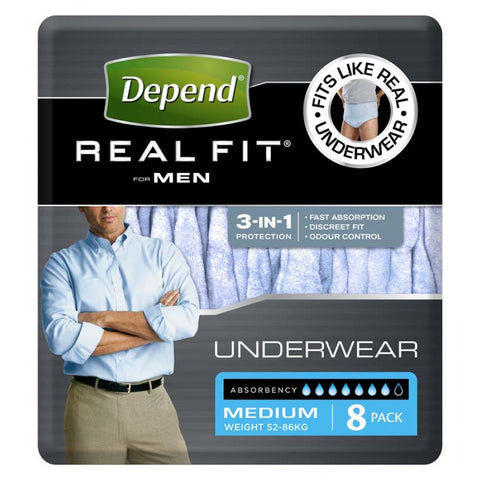 Depend® Real-Fit Underwear for Men - Medium pack of 8 pcs