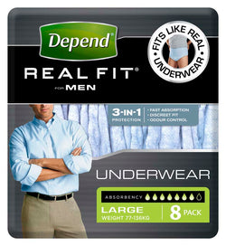 Depend® Real-Fit Underwear for Men - Large pack of 8 pcs