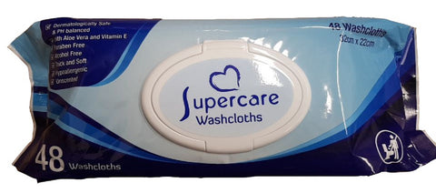Supercare Disposable Moist Washcloths - 48s Unscented