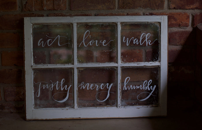 Hand Lettered Window Pane