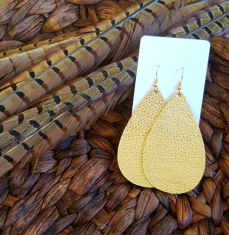 Gold leather teardrops