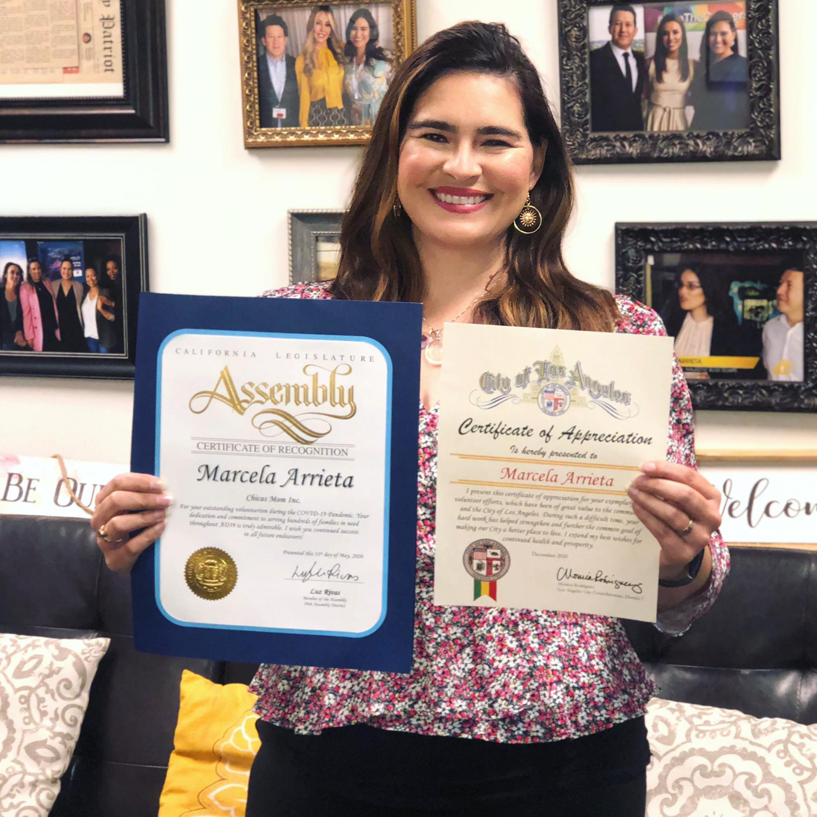 Marcela Arrieta receives recognitions from the city of Los Angeles for her volunteer work during the Covid-19 pandemic