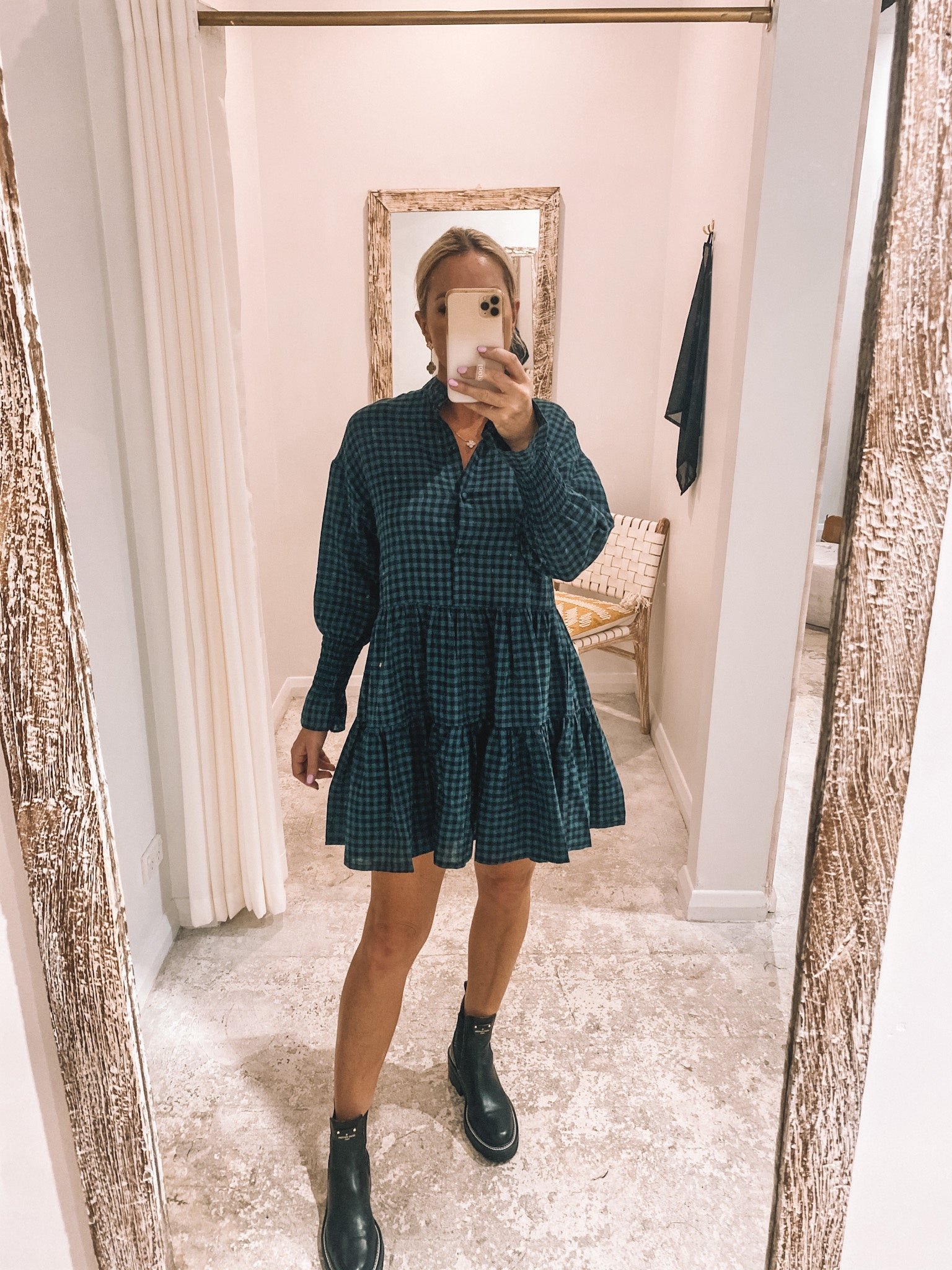 Clementine Dress Emerald Check