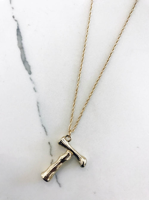 Bamboo Gold Plated Initial Necklaces