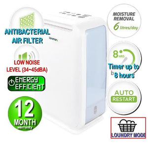 (PREORDER) Ionmax - ION610 Desiccant Dehumidifier with Antibacterial Air Filter Andatech