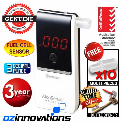 AlcoSense - Verity White Personal Fuel Cell Breathalyser Andatech