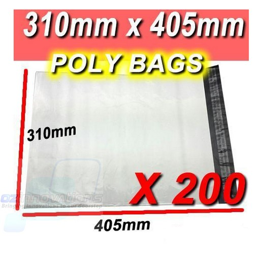 200x White Poly Bags Mailer Plastic Courier Satchel with Seal 310X405mm
